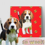 Medium Customized Warpped Canvas with Dogs Cats Pets Cartoon Portrait Wall Pop Art ( Cartoon Background)