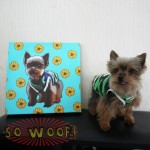 Small Customized Warpped Canvas with Dogs Cats Pets Cartoon Portrait Wall Pop Art ( Cartoon Background)