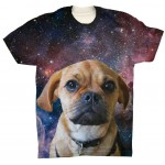 Pets Dogs Cats Blue Galaxy Universe Portrait Customized Crew Neck Short Sleeves Mens T Shirt