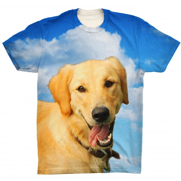 Pets Dogs Cats Blue Sky Portrait Customized Crew Neck Short Sleeves Mens T Shirt
