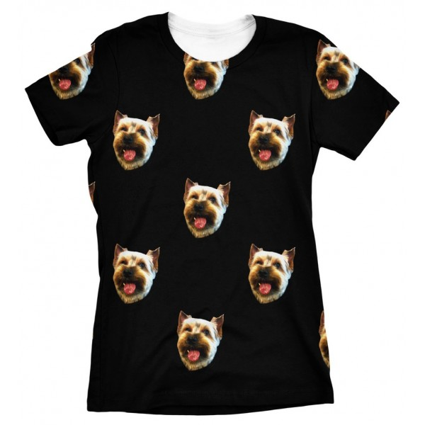 Pets Dogs Cats Faces Pattern Portrait Customized Crew Neck Short Sleeves Womens T Shirt