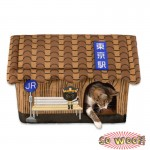 Brown Japanese Style Bus Train Station House Beds Crate With Cushion