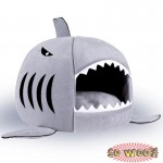 Grey Pets Dogs Cats Shark Head Open Mouth House Beds Crate With Cushion