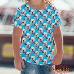 Pets Dogs Cats Faces Pattern Portrait Customized Crew Neck Short Sleeves Kids T Shirt