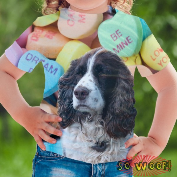 Pets Dogs Cats Heart Candies Portrait Customized Crew Neck Short Sleeves Kids T Shirt