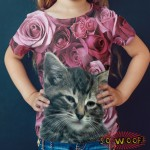 Pets Dogs Cats Pink Roses Portrait Customized Crew Neck Short Sleeves Kids T Shirt