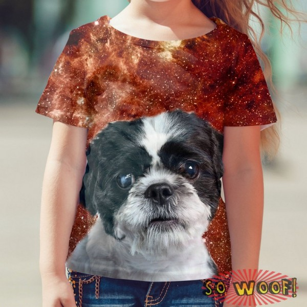Pets Dogs Cats Red Galaxy Universe Portrait Customized Crew Neck Short Sleeves Kids T Shirt