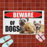 Beware of Dogs Personalized Doormat Door Mat Carpet with Photos Portrait