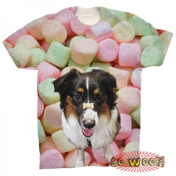 Pets Dogs Cats Marshmallow Portrait Customized Crew Neck Short Sleeves Mens T Shirt
