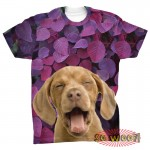 Pets Dogs Cats Purple Leaves Portrait Customized Crew Neck Short Sleeves Mens T Shirt