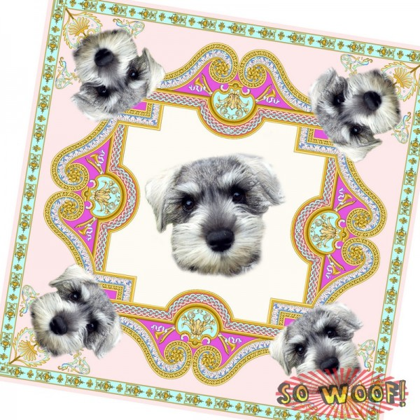 Pets Dogs Cats Portrait Customized Retro Ethnic Silky Scarf