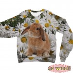 Pets Dogs Cats Chamomile Portrait Customized Long Sleeves Unisex Fleece Sweatshirt