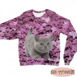 Pets Dogs Cats Stars Portrait Customized Long Sleeves Unisex Fleece Sweatshirt