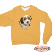 Breakthrough Pop Out Dogs Cats Pets Portrait Customized Long Sleeves Unisex Fleece Sweatshirt