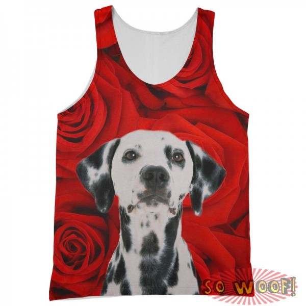 Pets Dogs Cats Red Roses Portrait Customized Crew Neck Sleeveless Tank Top Shirt