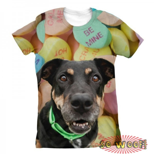 Pets Dogs Cats Heart Candies Portrait Customized Crew Neck Short Sleeves Womens T Shirt