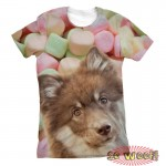 Pets Dogs Cats Marshmallow Portrait Customized Crew Neck Short Sleeves Womens T Shirt