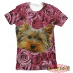 Pets Dogs Cats Pink Roses Portrait Customized Crew Neck Short Sleeves Womens T Shirt