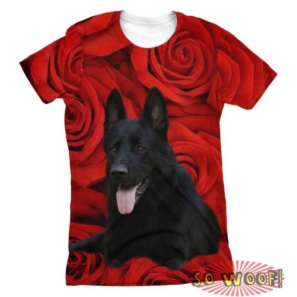 Pets Dogs Cats Red Roses Portrait Customized Crew Neck Short Sleeves Womens T Shirt