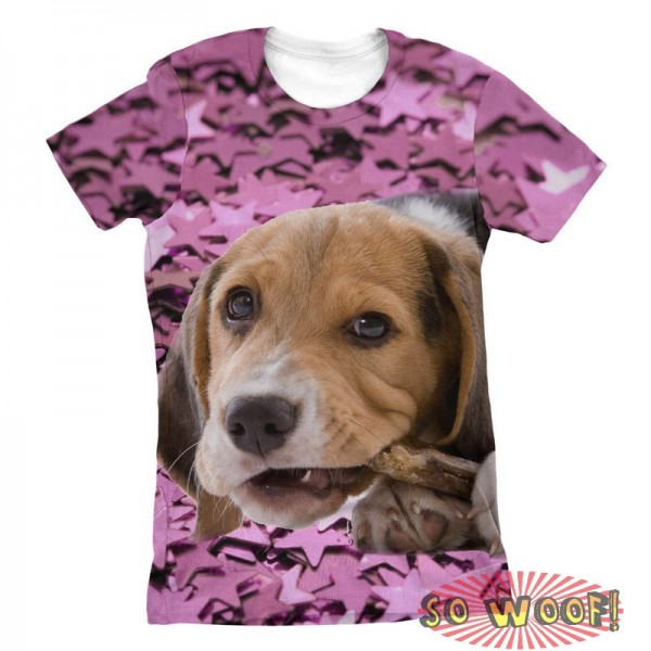Pets Dogs Cats Stars Portrait Customized Crew Neck Short Sleeves Womens T Shirt