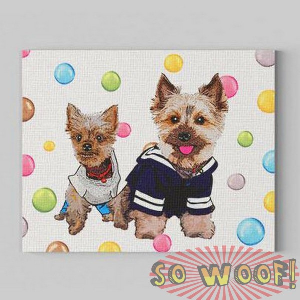 Small Customized Warpped Canvas with Dogs Cats Pets Cartoon Portrait Wall Pop Art ( Colorful Polkadots Background)